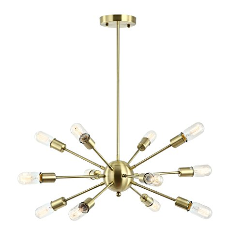 Light Society Meridia Sputnik 12-Light Chandelier Pendant, Brushed Brass, Mid Century Modern Industrial Starburst-Style Lighting Fixture (LS-C172-BRS)
