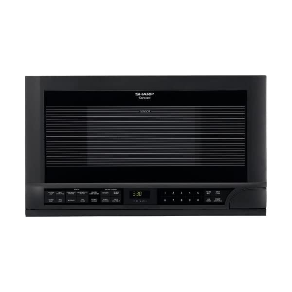 Sharp R-1210 1-1/2-Cubic-Foot 1100-Watt Over-the-Counter Microwave, Black 1
