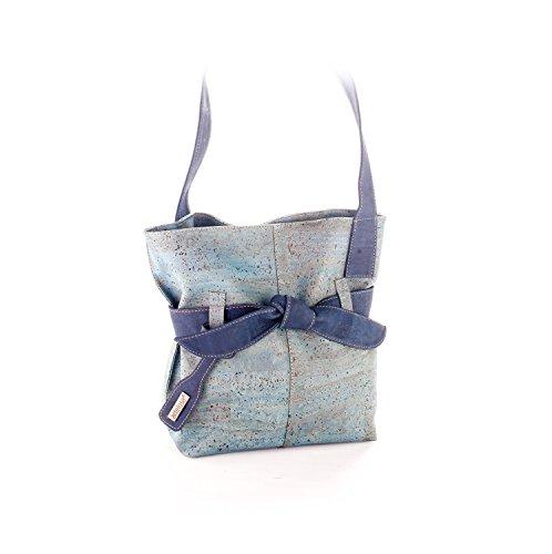 Artelusa Natural Cork Big Bow Shoulder Handbag Two Tone Light Blue Navy Eco-Friendly Handmade in Portugal