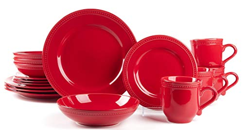 HomeVss, Pearl Dots Stoneware Dinnerware Set(16pc Set, Red)