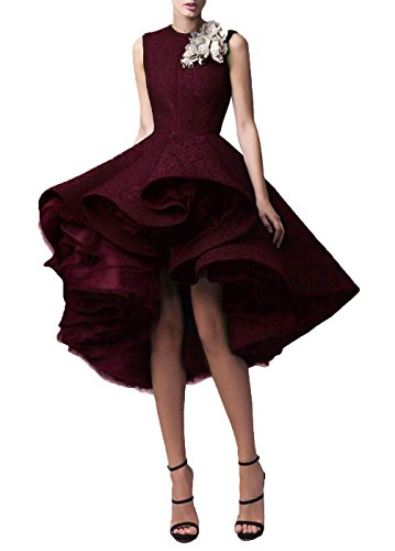 DYS Women's Lace Hi-Lo Prom Dress Short Jewel Evening Party Gowns Burgundy US 2