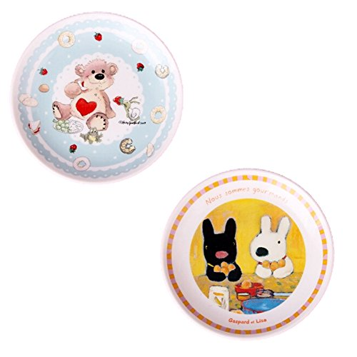 Kylin Express Set Of 2 Ceramic Cartoon Animal Round Dishes Chicken Dishes,Blue&Yellow by Kylin Express