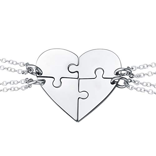U7 BFF Necklace for 2/3/4 Stainless Steel Chain Personalized Family Love/Friendship Jewelry Set Free Engraving Heart Pendants (Set 4 Stainless (Blank))