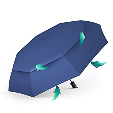 Procella Travel Umbrella – Compact for Easy Carrying, Strong, Durable Double Canopy - Auto Open and Close – Windproof & Waterproof – Sturdy - High Quality – Perfect Gift - Lifetime Guarantee (Navy Blue)