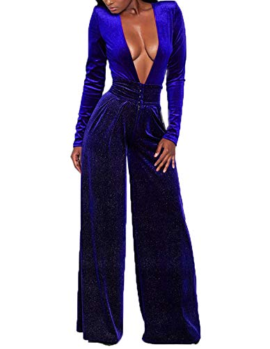 LightlyKiss Women's Sexy Deep V-Neck Long Sleeve Velvet Pants One Piece Romper Jumpsuits Blue ()