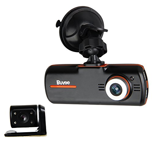 Buyee Dual Lens Hd 1080p Dash Cam Car DVR Travelling Driving Data Recorder Camcorder Vehicle Camera Black Box Backup Dashboard Night Vision Swivel Adjustable Cam
