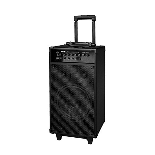 - Wireless Portable PA Speaker System - 800W Bluetooth Compatible Rechargeable Battery Powered Outdoor Sound Speaker Microphone Set w/ 30-Pin iPod dock, Wheels - 1/4