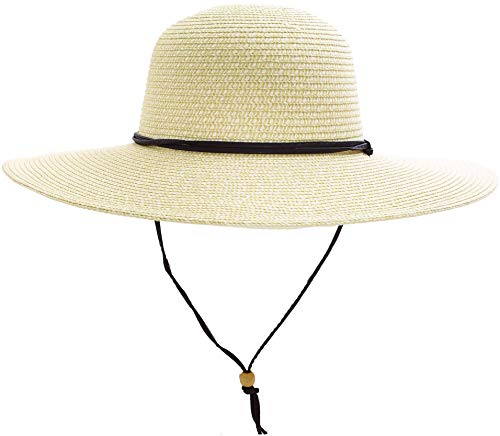 Women's UPF 50+ Wide Brim Braided Straw Sun Hat with Lanyard Ivory