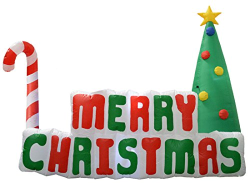 - Impact Canopy Inflatable Outdoor Christmas Decoration, Lighted Merry Christmas Sign with Tree, 6 Feet Long