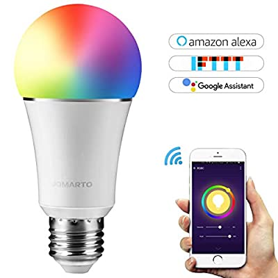 WiFi Smart Light Bulb, Works with Alexa Echo and Google Home, 60W Equivalent 900LM Multicolored LED 6500K Dimmable RGBW Light Bulb APP Remote Control No Hub Required by JOMARTO (9W E26)