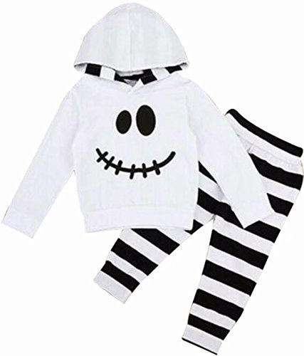 Toddler Baby Halloween Outfits Set Pumpkin Hoodie Tops Blouse +Striped Pants Size 2-3 Years/Tag100 (White) -