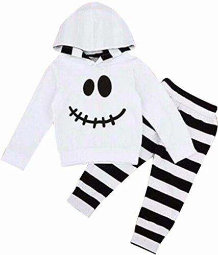 Baby Boys Girls Halloween Pumpkin Face Hoodie Sweatshirt Top+Stripe Pants 2Pcs Set Size 2-3 Years/Tag100 (White)