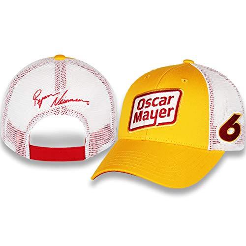 (Checkered Flag Ryan Newman 2019 Oscar Mayer #6 Draft Mesh NASCAR Hat Yellow, White)
