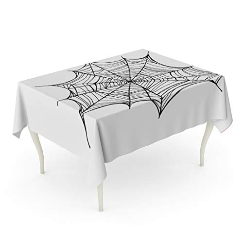 Tarolo Rectangle Tablecloth 60 x 84 Inch Cobweb Spiderweb Trap for Halloween Line Drawing Mascara Gothic Tattoo Abstract Black Cartoons Table Cloth -