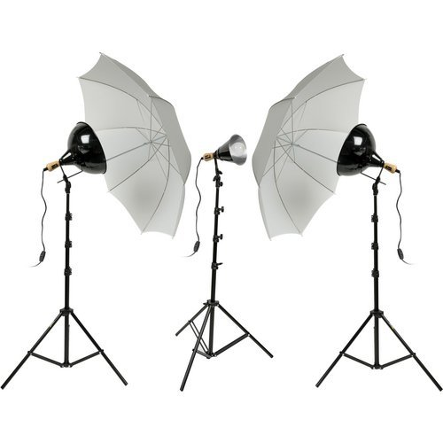 (Good Quality Impact Tungsten Three-Floodlight Kit with 6' Stands)