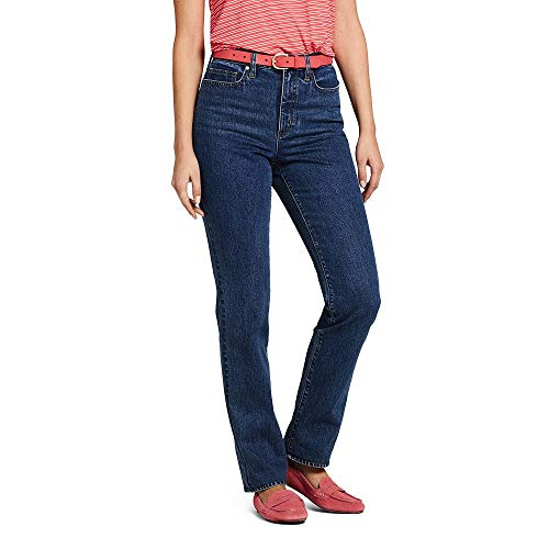 Lands' End Women's High Rise Straight Leg Jeans, 14 30, Blue Vista Indigo