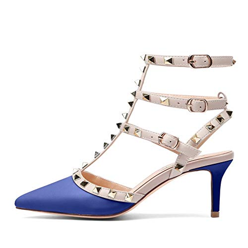 (Chris-T Womens Leather Buckle Studded Sandals T-Strap Kitten Pumps Dress Sandals)