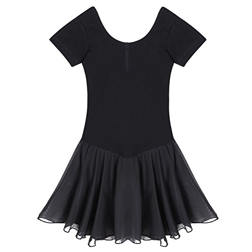 Arshiner Girls' Dance Leotard Ruffle Sleeve, Black, 160(Age for 10-11Y)