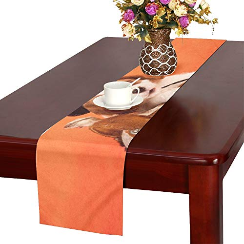 WHIOFE Cavalier King Charles Spaniel Puppy Miniature Table Runner, Kitchen Dining Table Runner 16 X 72 Inch for Dinner Parties, Events, Decor