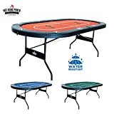 10-Player Casino style folding Poker table with premium water-resistant speed felt (no Assembly required) no Assembly required talking about convenience. You can set-up your table right out of the box, no Assembly required. This quality table is perf...