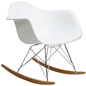 Modway Mid-Century Modern Molded Plastic Kid's Size Lounge Chair Rocker in White