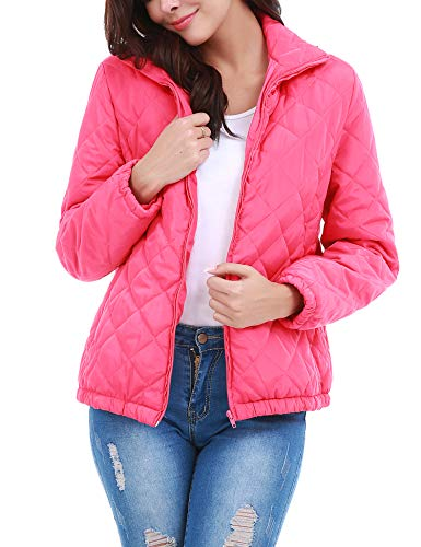 - Uniboutique Women Parka Quilted Jacket Packable Ultra Light Weight Down Jacket Puffer Coat Red L