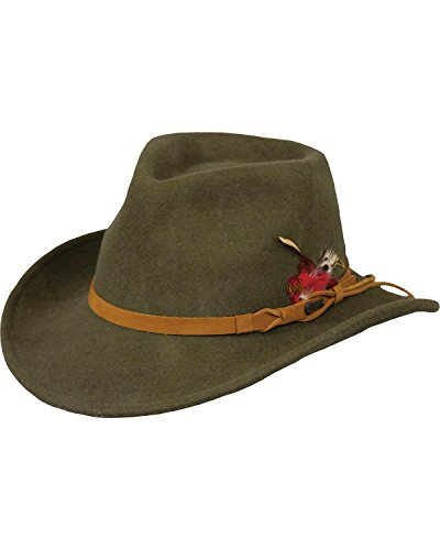 Sun Protection Cowboy (Outback Trading Co Men's Co. Randwick Upf50 Sun Protection Crushable Wool Hat Moss XX-Large)