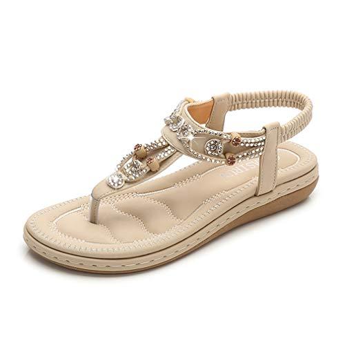 ZOEREA Ladies Sandals Peep Toe T-Strap Bohemia Women Sandals Flats Flip Flops Beach Holiday (8.5 B(M) US, Apricot ()