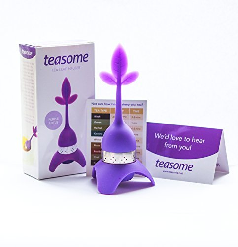 Loose Leaf Tea Infuser:- Lotus Tea Leaf Infuser with Drip Tray and Bonus Tea Timer Chart - Best for Medium Size Tea Leaves - Tea Steeper