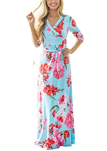 Womens Summer 3/4 Sleeve V Neck Floral Print Faux Wrap Maxi Long Dresses with Belt light blue S (Light Maxi Dress)