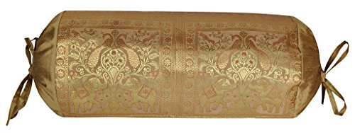 - Lalhaveli Silk Bolster Pillow Cover 30 X 15 Inches