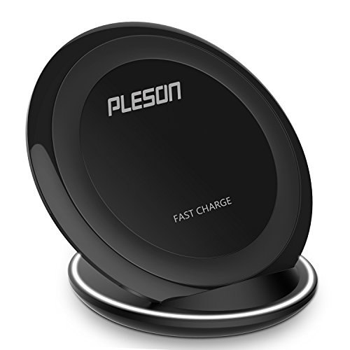 Fast Wireless Charger, PLESON 2 Coils Wireless Charger Cell QI Fast Wireless Charging Pad Stand for Samsung Galaxy Note 8 S8 Plus S8+ S8 Galaxy S7 S7 Edge Note 5 etc [Sleep-friendly] No AC Adapter