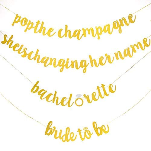 Savita Bachelorette – Bandera de fiesta, divertida pre atril dorado con purpurina alfabeto para boda, compromiso, novia,...
