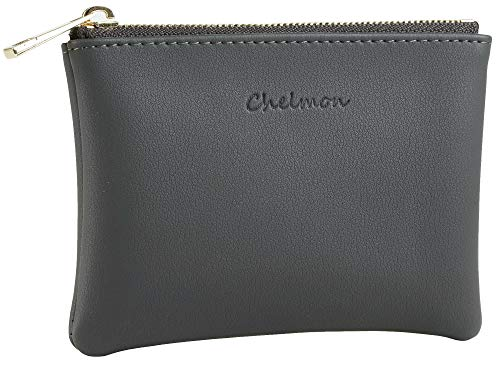 Chelmon Genuine Leather Coin Purse Pouch Change Purse With Zipper For Men Women (Grey Deep)