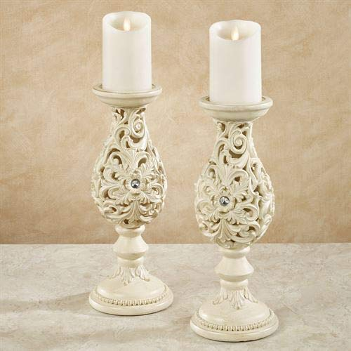 (Touch of Class Openwork Candleholders Ivory/Gold Pair)