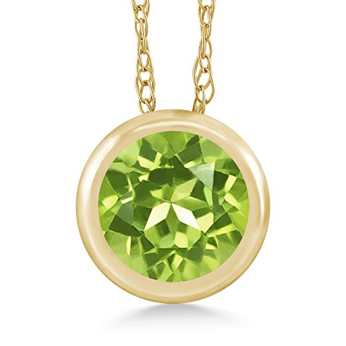 0.60 Ct Round Green Peridot 14K Yellow Gold Pendant With Chain 14k Yellow Gold Peridot Pendant