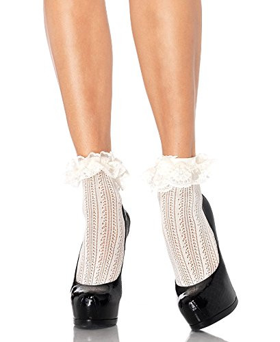 3031 (Ivory) Crochet Net Lace Top Anklets - Net Lace Top