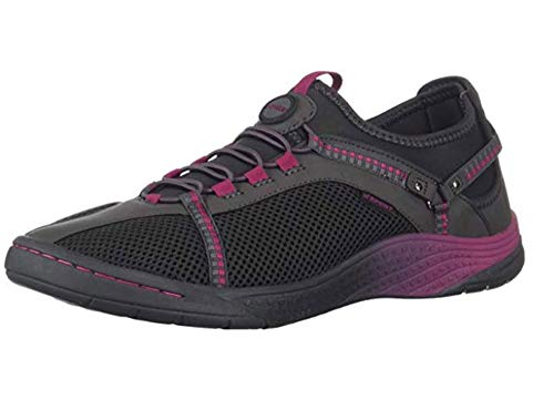 JSport by Jambu Women's Tahoe Encore Sneaker, Charcoal/Sangria, 9 Medium US