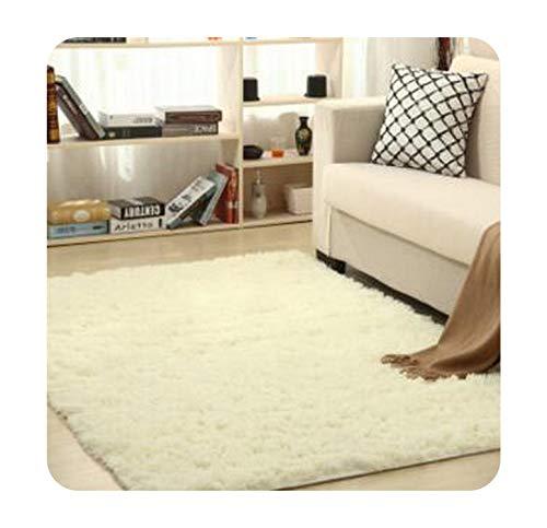 (Living Room Area Rug European Fluffy Anti-Slip Bedroom Carpet Tea Table Carpets Bedroom Mats Home Textile Soft Carpet,Cream White,140cm x)