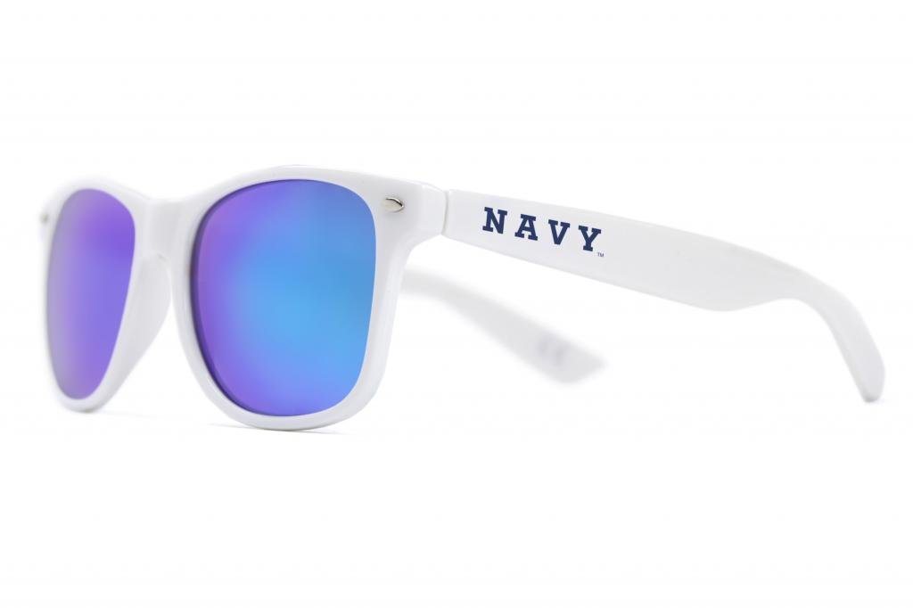 Blue Lens Sunglasses White NCAA USNA Navy White Frame NAVY-5 One Size