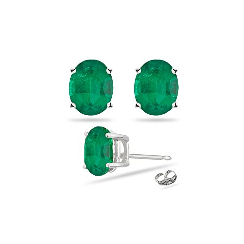 5x3mm Oval Emerald (0.38-0.55 Cts of 5x3 mm AA Oval Natural Emerald Stud Earrings in Platinum)