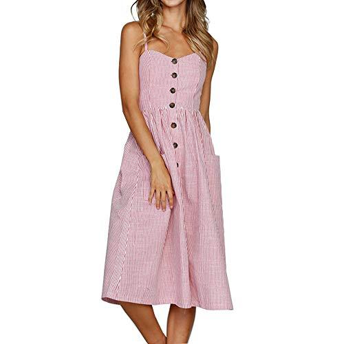 PIZOFF Pink Striped Dress for Women Bohemian Spaghetti Strap Button Down Swing Midi Dress with Pockets
