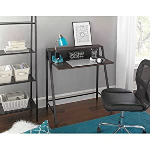 2 Tier Writing Desk, Multiple Finishes Space Saving Desk With Soft Mold  Edging Sturdy Powder Coated And Metal Frame Upper Shelf Supplies Or Papers  Overall ...