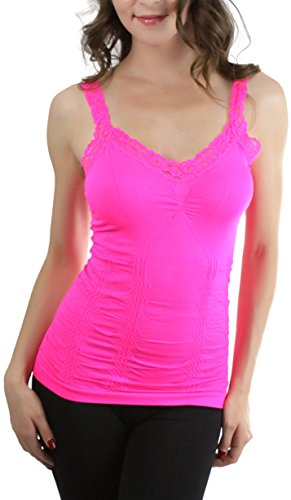 ToBeInStyle Women's Wrinkled Camisole - Hot Pink - One Size