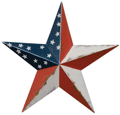 Dimensional Steel Metal Barn Star, 12-inch, Distressed Americana Flag Finish by Home Collection (Burgundy Star)