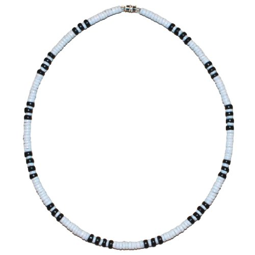 Native Treasure - 5mm White Clam Heishe Puka Shell Necklace with Black Coco Beads (16)