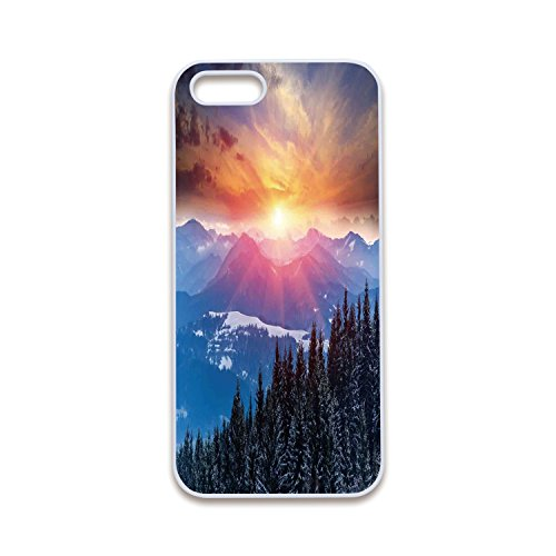 Mint Personalized Winter Theme (2D Print Phone Case Compatible with iPhone5 iPhone5s White Edge,Winter Decorations,Sunset in Mountains with Hazy Lights with Magical Dawn Horizon Theme,Orange Blue,Customized 2D Print Phone Case)
