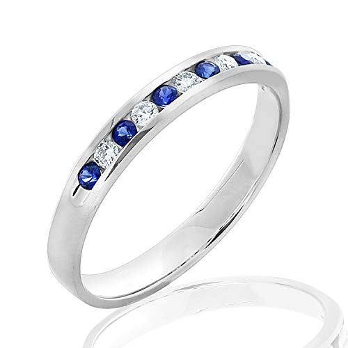 Blue Sapphire and Diamond Wedding Band .25 CT in 14K White Gold, Diamond and Gemstone Wedding Ring for Women, Size 7.5 ()