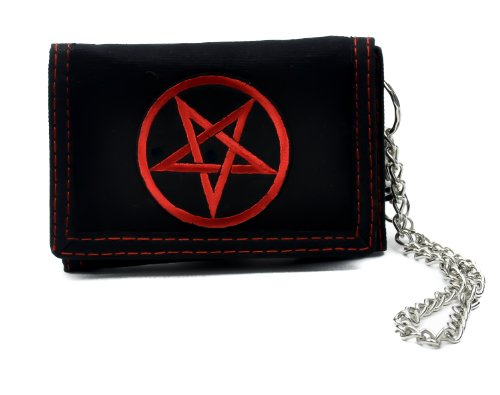 (Red Pentagram Trifold Wallet with Chain - Black)