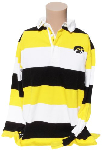 NCAA Iowa Hawkeyes Men's Striped Rugby Shirt, Black/Yellow, X-Large - Classic Supporters Rugby Shirts